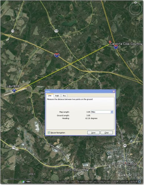 Laurens airport, 4 mi SW of Carolina Cow Country Airstrip.