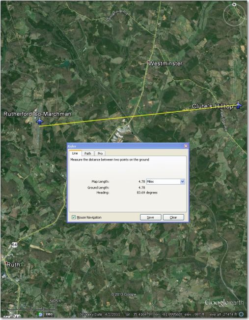 Rutherford Co-Marchman Airport 5 mi west of Clute's Hilltop airstrip