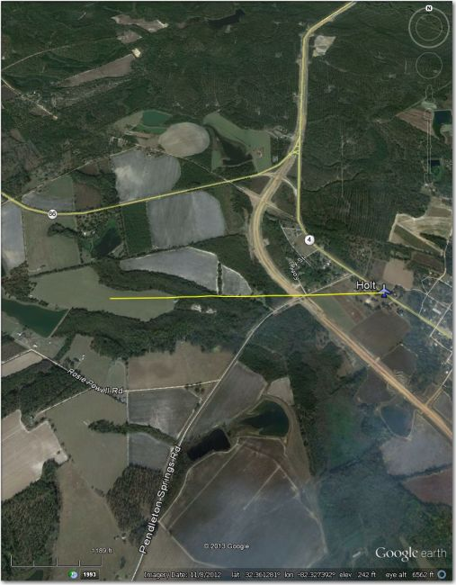 Waypoint symbol is about 1 mi east of actual airstrip