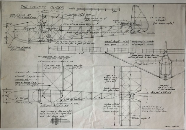 A copy of the drawing of the Colditz glider- It actually flies pretty well (see internet)