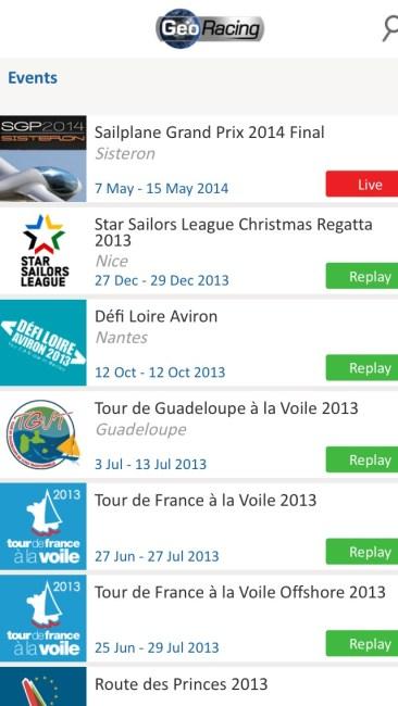 GeoRacing iPhone Screenshot - All Events