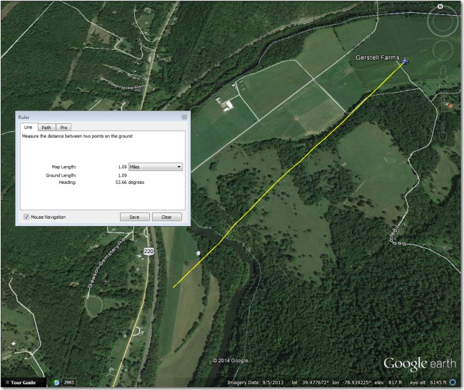 Gerstell Farms Airstrip:  Airport symbol is located 1mi NE of strip.