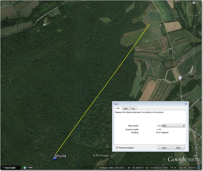 Shulls Airstrip - the airport symbol is 1.5 miles southwest of the actual airstrip
