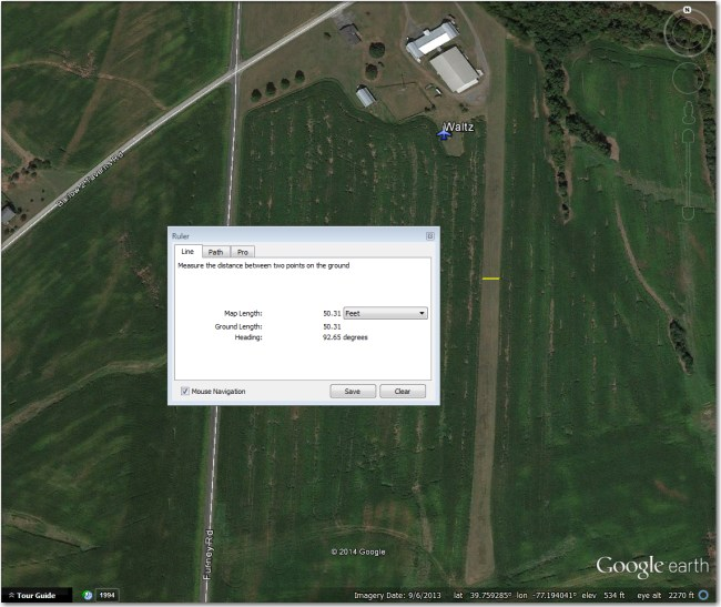 Waltz Airstrip:  Too narrow for even 15m when crops are high