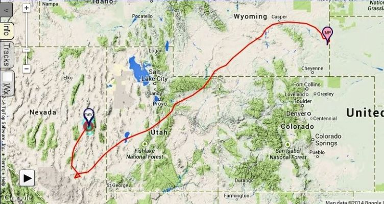 Mich Polinski flies from Ely, NV to Torrington, WY