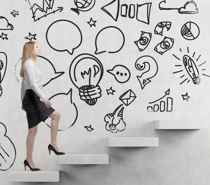 Young business woman is going up to the stairs. A concept of a brainstorm. Business icons are drawn on the wall. Concrete background.