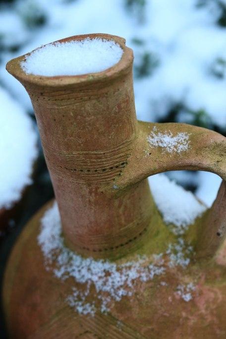 Ethiopian coffee pot in the snow. Copyright Fiona Michie.
