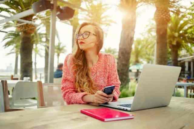 female freelancer working outdoors