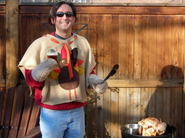 Thanksgiving Turkey Grilling, Beer in Hand