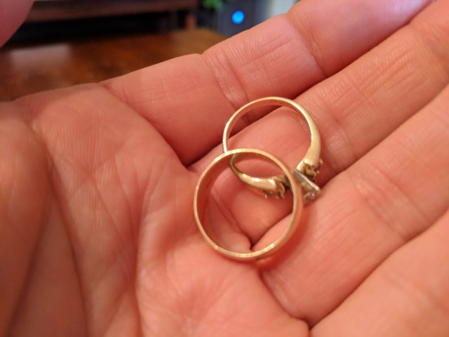 Engagement and Wedding Rings Removed