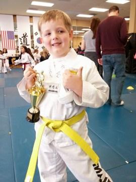 Got his yellow belt!