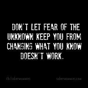 Sober Mommies  Don't let fear of the unknown keep you from changing what you know doesn't work