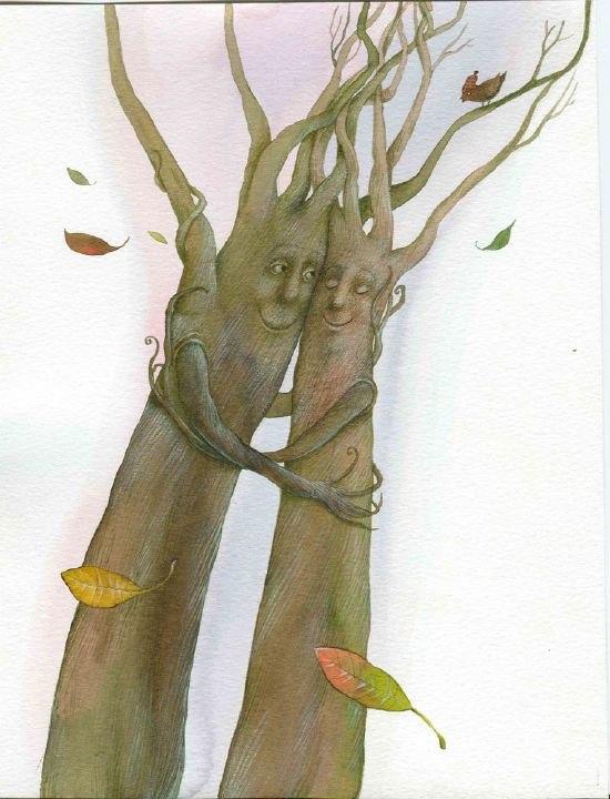 Деревья обнимают друг друга