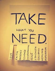 a flyer saying take what you need