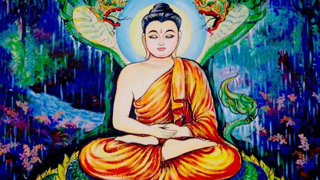 buddha in the rain
