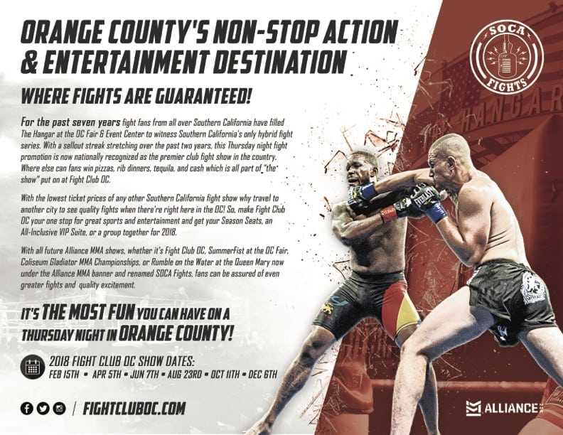Contact Us Today For 2018 Fight Club OC Season Seats