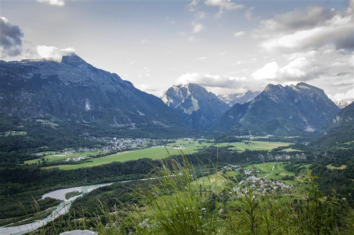 The view of the Soča valley and Bovec city