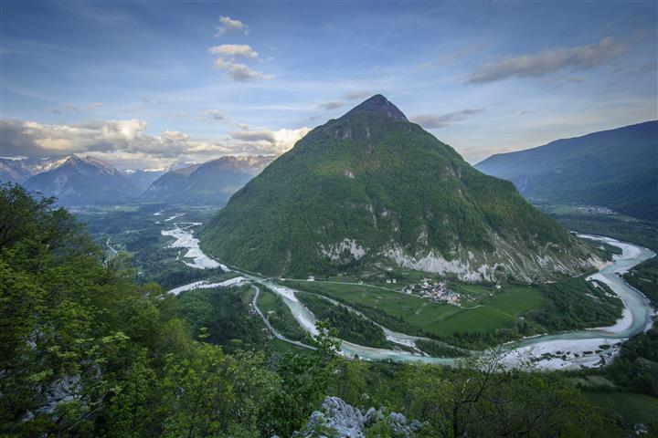 Soča valley with Soča river