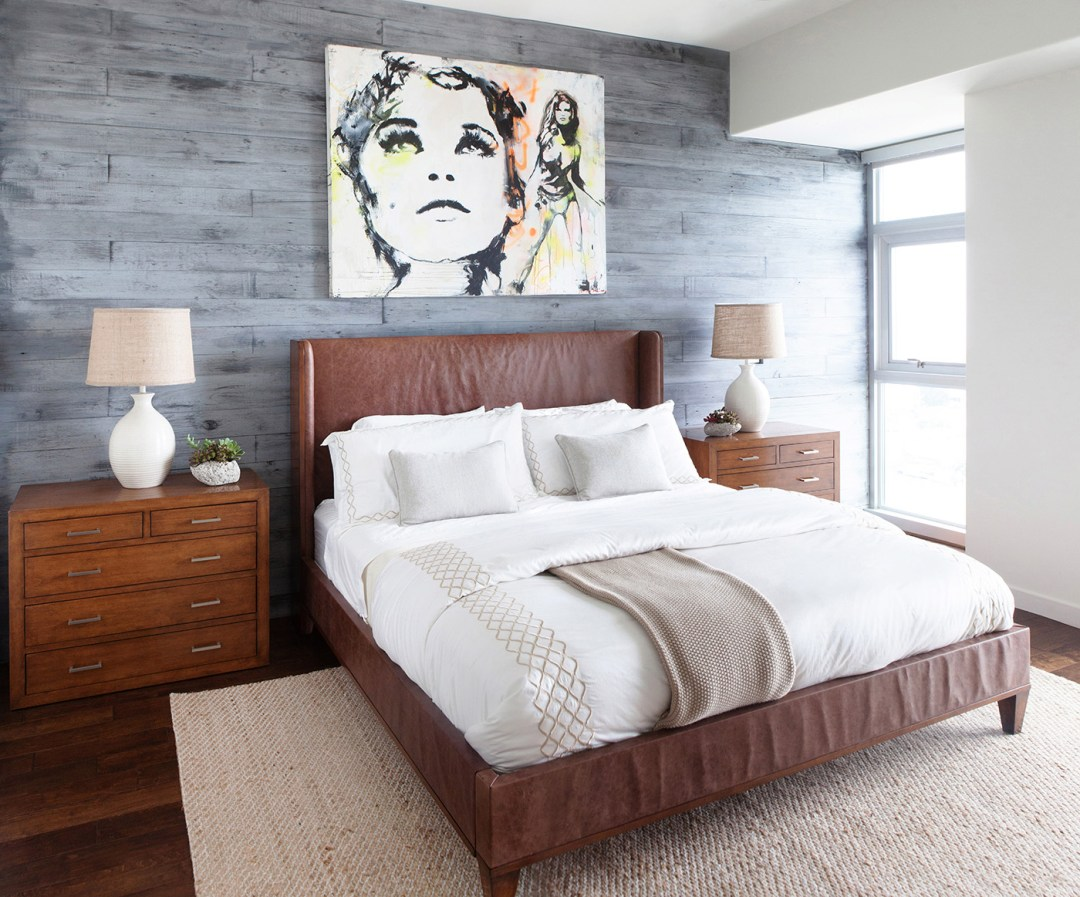 Brown Leather Bed in Modern Los Angeles bedroom