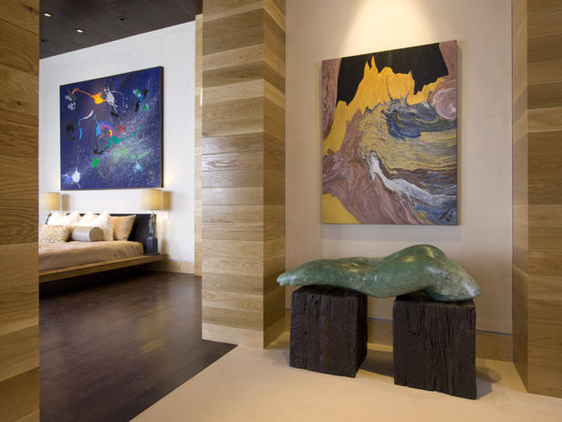 Abstract Art in Hollywood Hills Bedroom