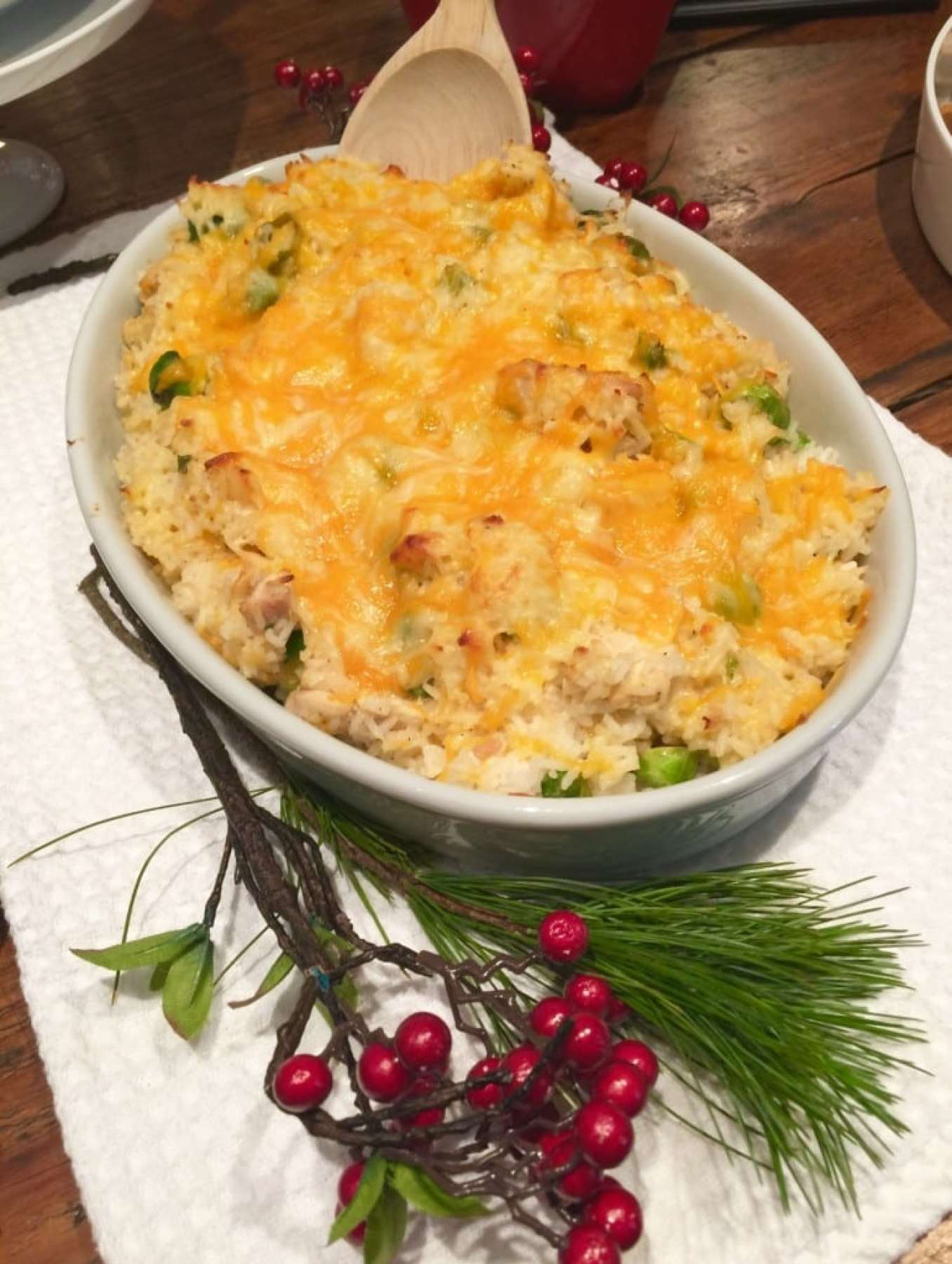 Cheesy Chicken Rice Casserole with Brussel Sprouts