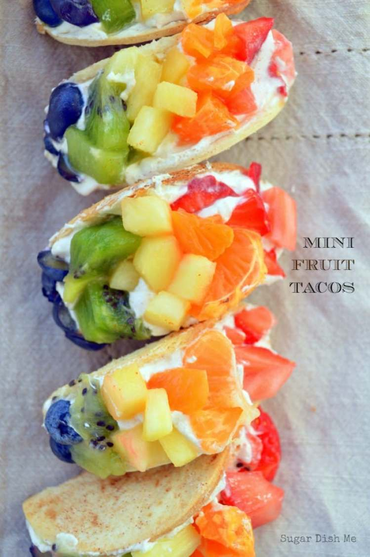 Make this mini fruit rainbow colored tacos for St. Patrick's Day