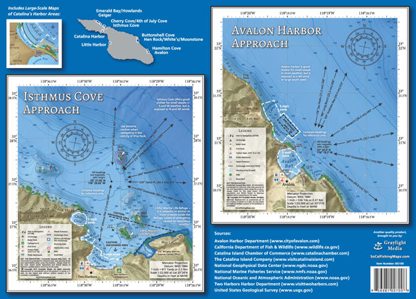 Isthmus Cove and Avalon Harbor Approach Maps