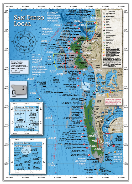 Fishing and diving map of San Diego's local areas.