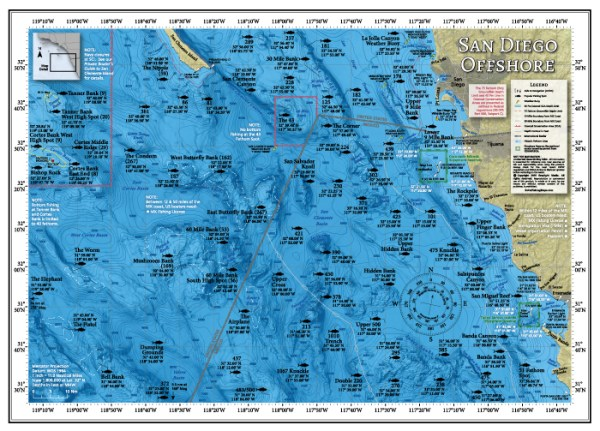 San Diego Offshore Fishing Map