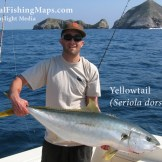 Angler holding a yellowtail captured at the Coronado Islands, BCN, Mexico.