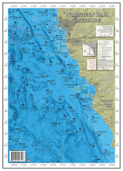 Map of offshore fishing areas along the northern Baja coast