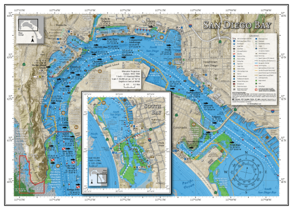 Map of San Diego Bay with popular fishing spots and local boating knowledge