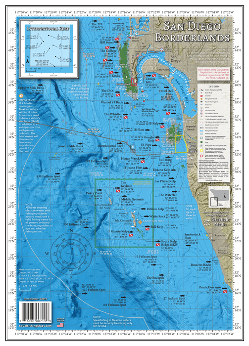 Fishing map of the inshore fishing areas south of San Diego Bay
