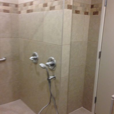 A photo of a shower room