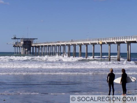 Surfers checking out the waves at Scripps Pier.