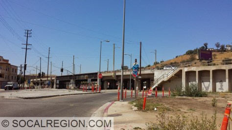View from the eastern side. Steps lead to the passenger platform for northbound trains.