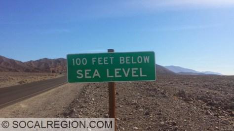 100' Below Sea Level in Death Valley near Furnace Creek.