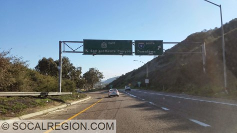 Last remaining signage for San Clemente Canyon at I-5 heading EB on 52.
