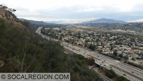 I-5 passing through Elysian Valley from the Elysian Hills.