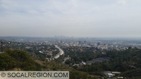 Downtown Los Angeles and the Hollywood Bowl from Mulholland Drive.