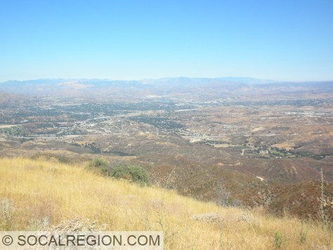 Santa Clarita Valley from Los Pinetos Mountain, looking northwest.