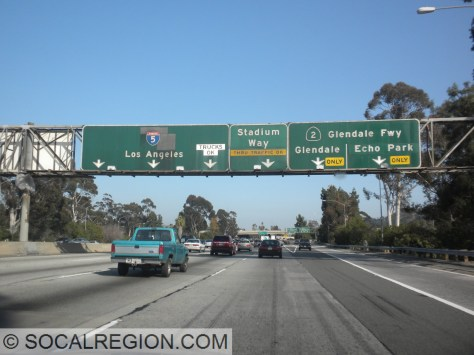 Signage at the Glendale Freeway. Black overlay next to the 5 shield covers a US 99 shield.
