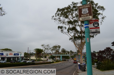 El Cajon Blvd with Historic Route 80 signs in the North Park neighborhood of San Diego.