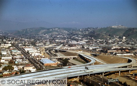 I-5 and State 110 Interchange in 1962, looking northerly along the Arroyo Seco Parkway (State 110, then  US 66).