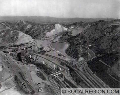 """1970 view of the I-5 / SR-14 Interchange construction. This """"build"""" would partially collapse on February 9, 1971 while still incomplete."""