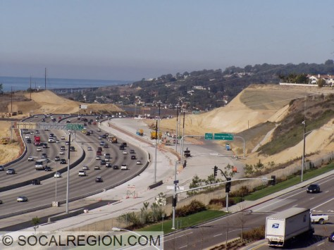 """Construction in 2006 of the new """"Merge"""" and bypass lanes at I-805."""