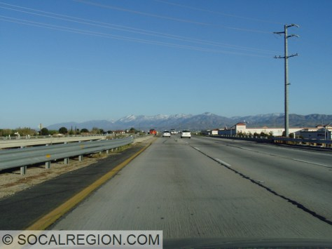 Winter view of the San Gabriel Mountains from Palmdale on the southbound 14.