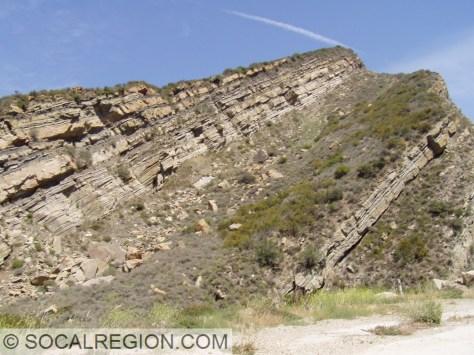 Steeply dipping Ridge Basin Group in Piru Gorge.