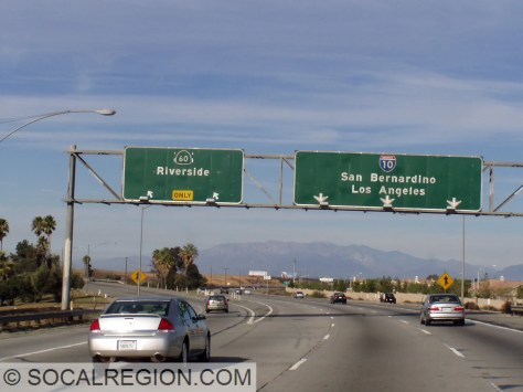Signage on I-10 at the east end of the 60. Note the US shield sticking out from under the State 60 shield.