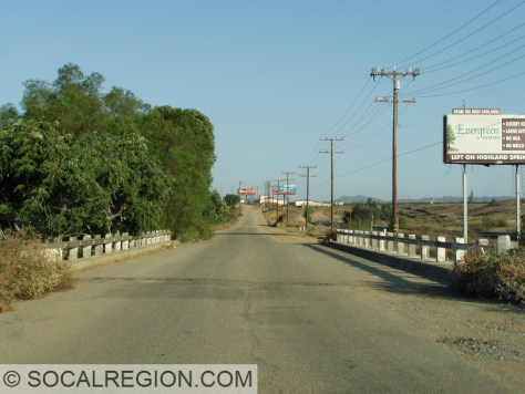 San Timoteo Creek Bridge just west of the State 60 junction.